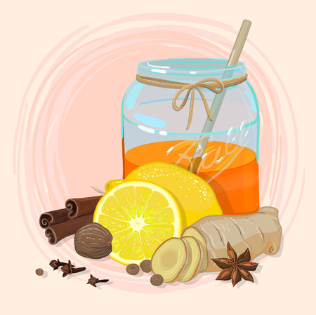 nutmeg: Honey in a jar with lemon and different spices, like star anise, cinnamon, ginger, pepper, nutmeg and clove. Can be used in different design, like cards, recipes and illustration Illustration