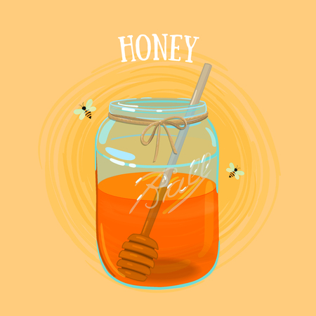 curative: Delicious fresh honey in a jar, covered with textile cap, bees flying around.