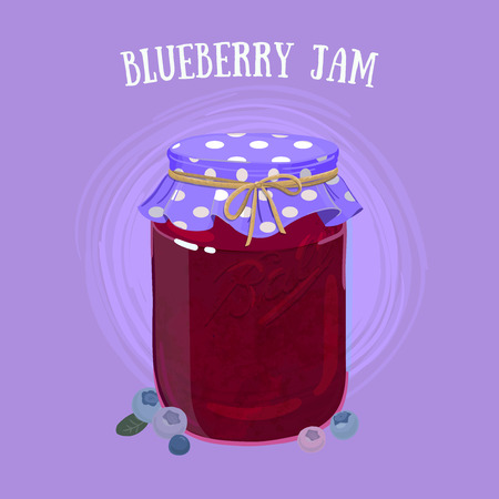 gelatin: Delicious vegan jam in a jar, made of ripe juicy berries covered with textile cap.
