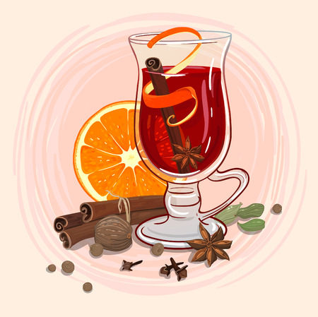 recipe background: Mulled wine in a mug and ingredients around