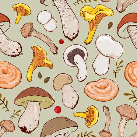 Stock vector seamless pattern with mushrooms and leaves. Seamless patterns are used in textile design, postcards, calendars, websites, wallpapers, packages, backgrounds