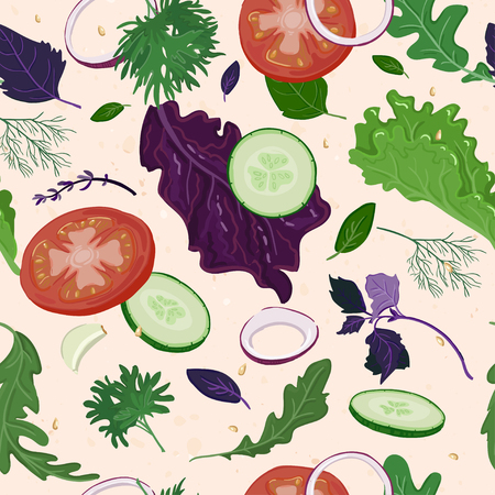 cucumbers: Salad ingredient seamless pattern with tomatoes, cucumbers, onions and different leaves and seasoning
