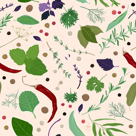 allspice: Different seasoning. herbs and spices seamless pattern