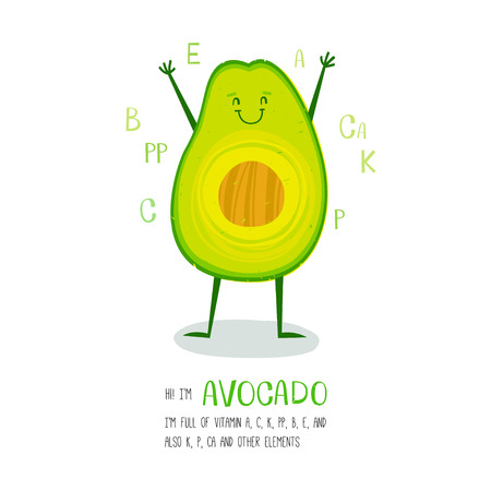 vegetable cartoon: Bright cartoon style vegetable element avocado design, with geometric hand drawn letters. can be used for invitations, card, posters and other design Illustration