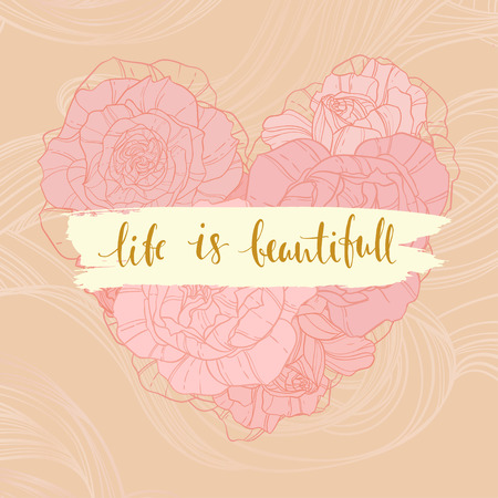 writting: Beautifal vintage card with sweet calligraphic message and rose heart background. can be used as greeting card,invitation card for wedding,birthday and other holiday. Illustration