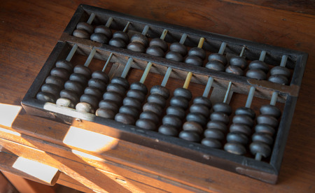 Vintage tone accounting old abacus and hold electronic calculator. financial concept design.