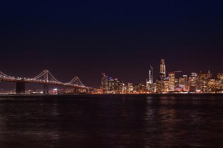 San Francisco, CA - view of the city and bay at night Banco de Imagens