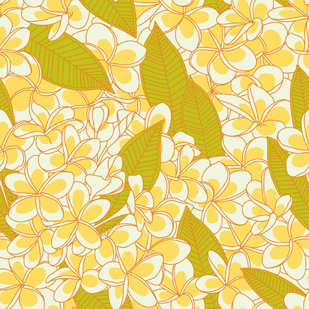 Seamless pattern with plumeria flowers
