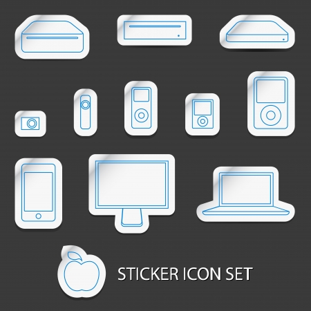 paper sticker icon set