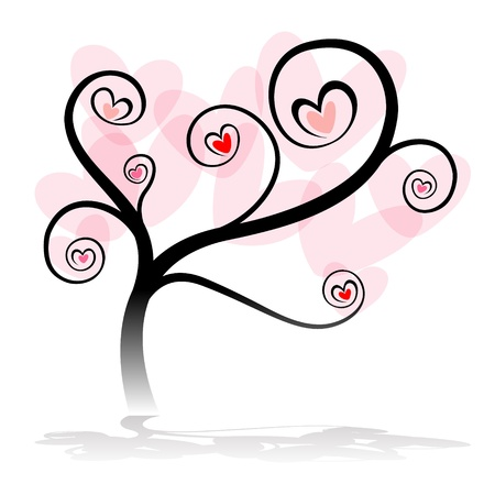 romance image: love tree with heart leaf on white background Illustration