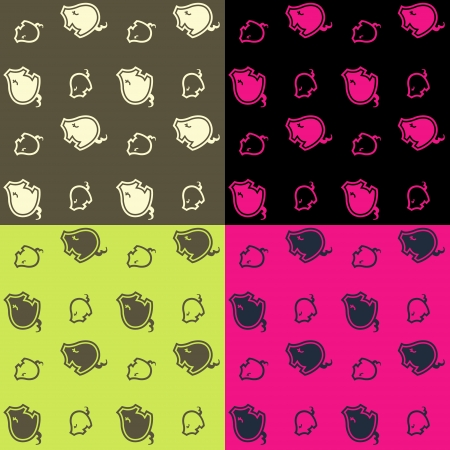 cute little pig pattern   Vector