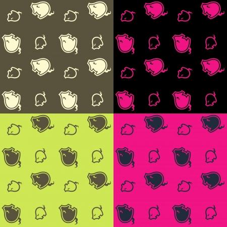 cute little pig pattern   Vector