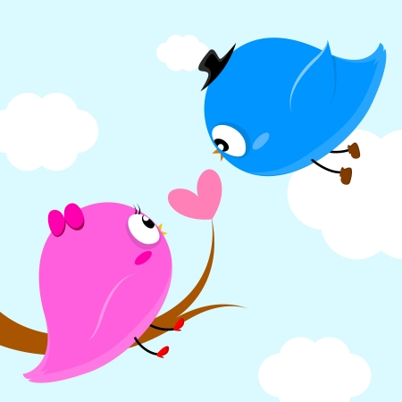 puppy love: two birds on branch with heart leaf so sweet