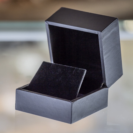 costume jewelry: Black velvet jewelry box