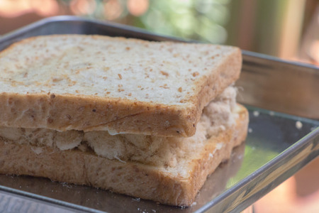 Closeup delicious thai breakfast healthy fresh bread with tasty sweet pork floss Stock Photo
