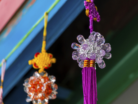 Asian colorful handmade mobile hanging decorate for celebrate new year. Mobile hanging decorate party at house.