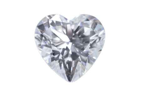 Heart shape real gemstone jewelry diamond isolated on white background with clipping path.