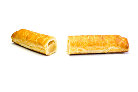 two pieces: Two pieces of an almond bar Stock Photo
