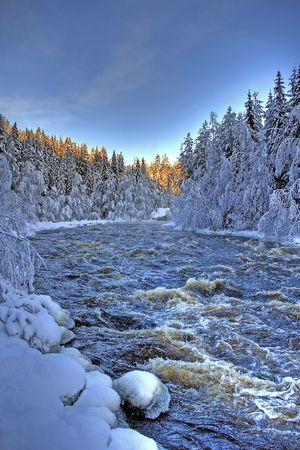 A beautiful river found in the northern part of Sweden
