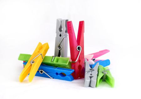 colorful clothespins isolated photo