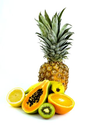 some fresh healthy fruit on white background Stock Photo - 844399