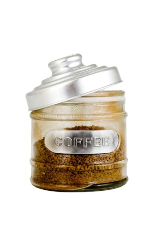 Open coffee jar isolated on white background photo