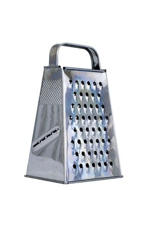 isolated stainless grater in front of white background