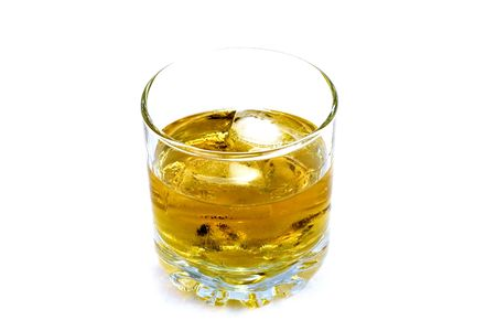 Whiskey in a glass isolated on white background Stock Photo