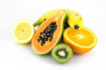 Pile of fresh fruit on white background Stock Photo
