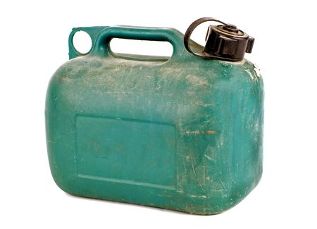 green plastic gas can on white backgorund