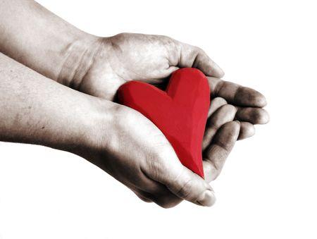 corazon en la mano: la celebraci�n de un coraz�n rojo en las manos  Foto de archivo