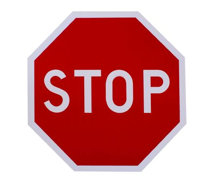 signage outdoor: red isolated stop sign on white background