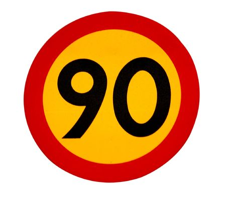 90 speed limit traffic sign Stock Photo