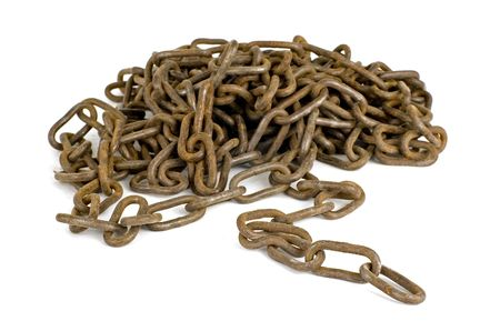 joining forces: rusty chains on a white background