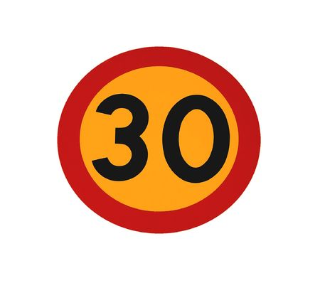 yelllow: red and yelllow 30 traffic speed limit sign