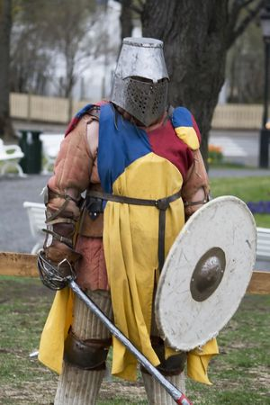 medieval knight dressed in armor redy for battle Stock Photo - 951006
