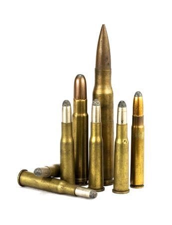 millimetres: isolated rifle ammunition on white background