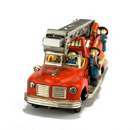 collectable: rare vintage fire truck toy isolated on white Stock Photo