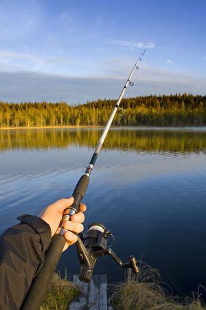 fishing rod and beautiful swedish nature