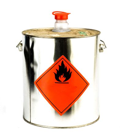 flammable: can with flammable content isolated on white