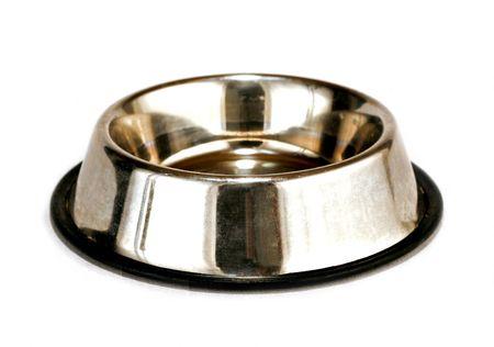 bol vide: plateau vide chien isol� sur fond blanc Banque d'images