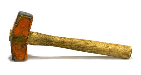 weighted: heavy and old sledgehammer on white background