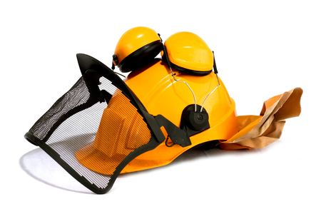 forestry workers helmet on white background