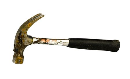 impact tool: well used hammer on white background Stock Photo