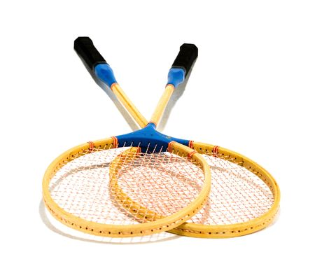 two badminton rackets isolated on white background Stock Photo - 1104126