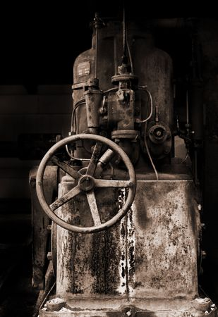 antique factory: a piece of old and rusty machinery Stock Photo