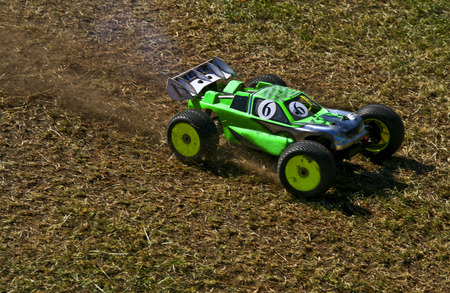 RC toy car in a rally championship race Stock Photo