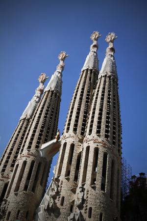 Gaudis La sagrada familia cathedral in Barcelona, Spain Editorial