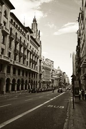 city street in old town, Barcelona, Spain