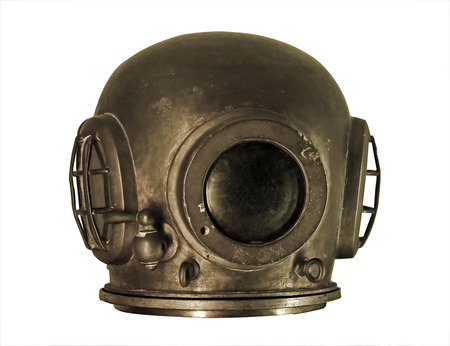 old and rusty helmet for deep sea diving isolated on white background Stock Photo